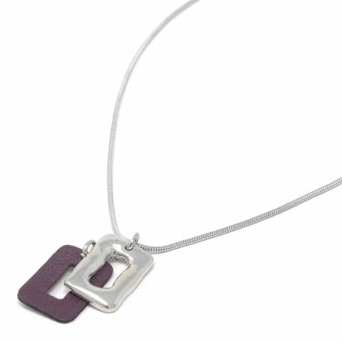 Short Snake Chain Necklace with Pewter and Burgundy Leather Feature Pendant