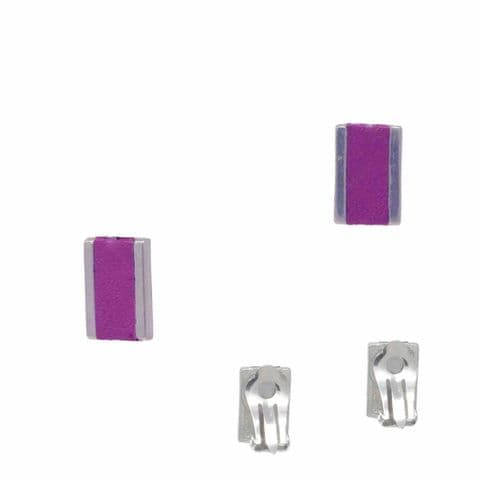 Small Rectangle Feature Clip on Earrings with Grape Leather Inlay
