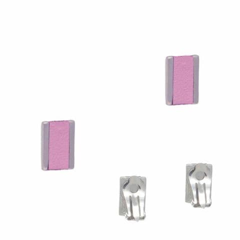 Small Rectangle Feature Clip on Earrings with Pink Leather Inlay