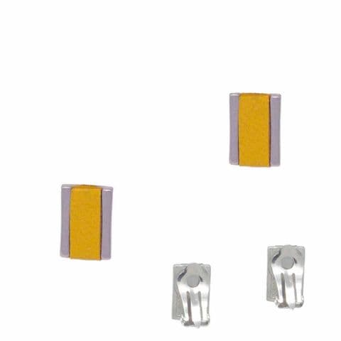 Small Rectangle Feature Clip on Earrings with Yellow Leather Inlay