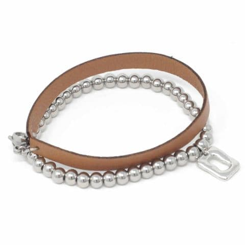 Small Ring Feature Elasticated Balls Bracelet with Tan Leather Strap