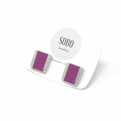 Small Square Stud with Grape Leather Inlay