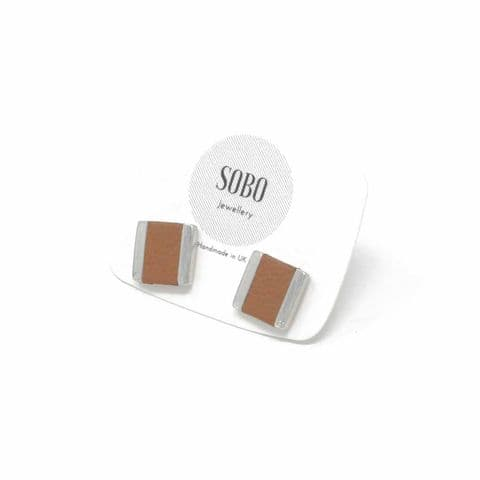 Small Square Stud with Tan Leather Inlay