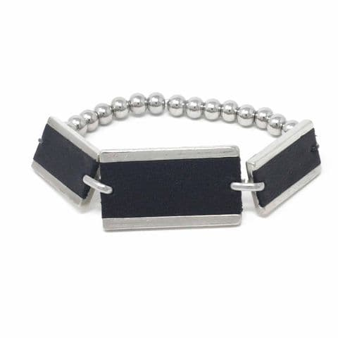 Triple Rectangle Feature Bracelet with Black Leather Inlay and Steel Balls