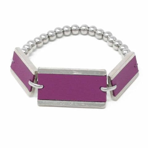 Triple Rectangle Feature Bracelet with Grape Leather Inlay and Steel Balls