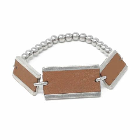 Triple Rectangle Feature Bracelet with Tan Leather Inlay and Steel Balls