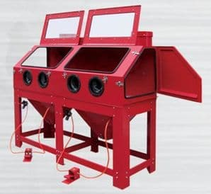 DSBC880 Wide Blasting Cabinet with Twin Front Work Stations for longer Parts