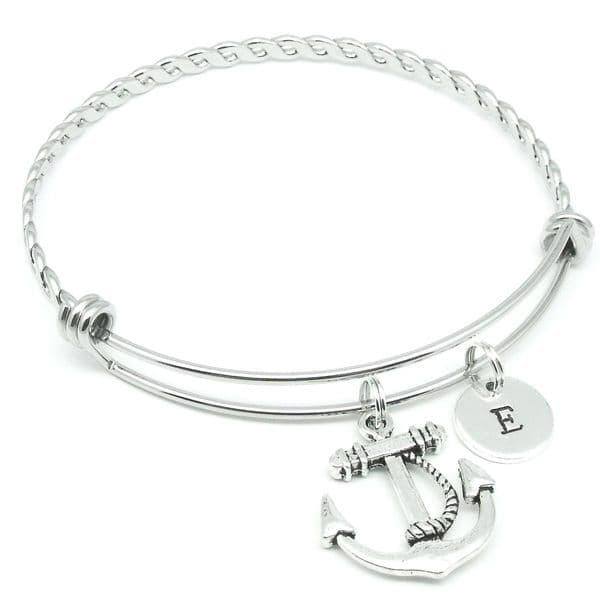 Anchor charm bracelet gift jewellery personalised