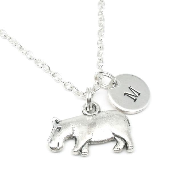 Hippo pendant necklace gift personalised with initial