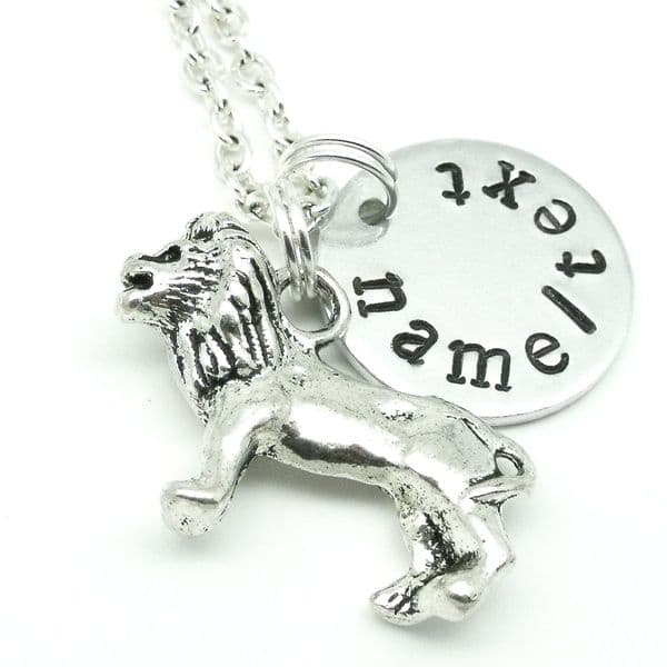 Lion name necklace personalised jewellery gift