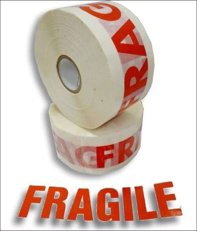 'Fragile' Tape - 'Fragile' printed in Red on White Low Noise Tape - 25 mu - Single Rolls
