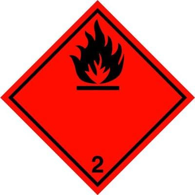 CN2.1L    Flammable Gas 2.1 Placard/Container Label 300mm x 300mm Class 2 - Single Label