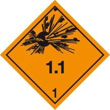 Code CN1.1  Placard/Container Label 250mm x 250mm Class 1 Explosive 1.1
