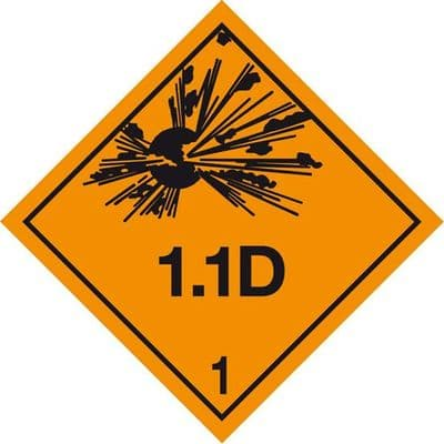 Code CN1.1D   Placard/Container Label 250mm x 250mm Class 1 Explosive 1.1D