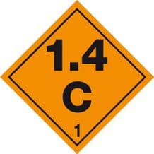 Code CN1.4C    Placard/Container Label 250mm x 250mm Class 1 Explosive 1.4C