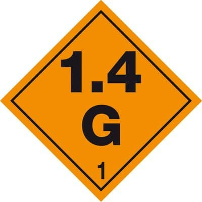 Code CN1.4G       Placard/Container Label 250mm x 250mm Class 1 Explosive 1.4G