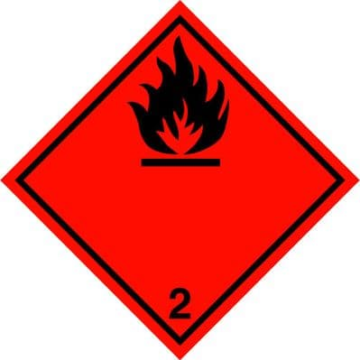 Code  CN2.1     Placard/Container Label 250mm x 250mm Class 2 Flammable Gas 2.1