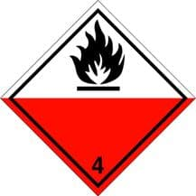 Code CN4.2   Placard/Container Label 250mm x 250mm Class 4 Spontaneously Combustible 4.2