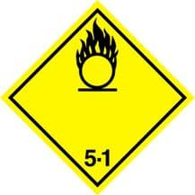Code CN5.1   Placard/Container Label 250mm x 250mm Class 5 Oxidizer 5.1