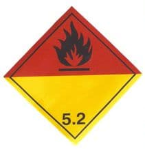 Code CN5.2   Placard/Container Label 250mm x 250mm Class 5 Organic Peroxide 5.2
