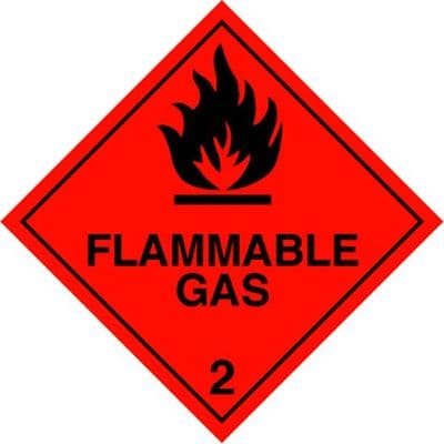 Code CT2.1  Placard/Container Label 250mm x 250mm Class 2 Flammable Gas 2.1