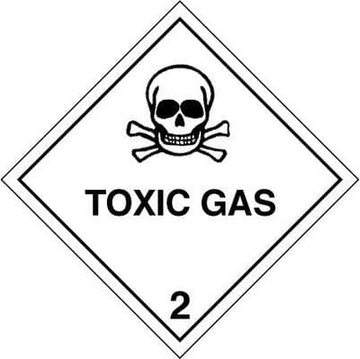 Code CT2.3    Placard/Container Label 250mm x 250mm Class 2 Toxic Gas 2.3