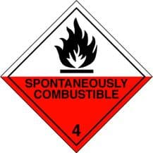 Code CT4.2   Placard/Container Label 250mm x 250mm Class 4 Spontaneously Combustible 4.2
