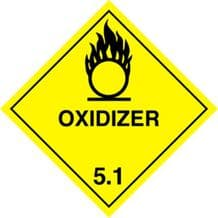 Code CT5.1    Placard/Container Label 250mm x 250mm Class 5 Oxidizer 5.1