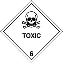 Code CT6.1  Placard/Container Label 250mm x 250mm Class 6 Toxic 6.1