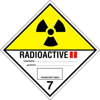Code CT7.2L   Placard/Container Label 300mm x 300mm Class 7 II Radioactive 7.2