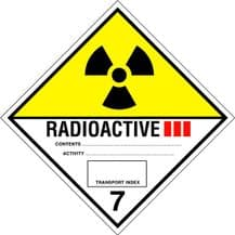 Code CT7.3   Placard/Container Label 250mm x 250mm Class 7 III Radioactive 7.3