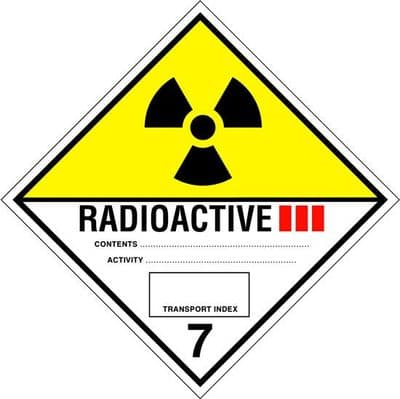 Code CT7.3L   Placard/Container Label 300mm x 300mm Class 7 III Radioactive 7.3
