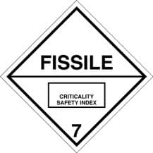 Code CT7F  Placard/Container Label 250mm x 250mm Class 7 Fissile