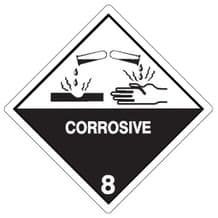 Code CT8   Placard/Container Label 250mm x 250mm Class 8 Corrosive 8