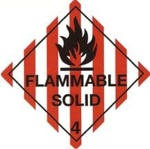 CT4.1  Placard/Container Label 250mmx250mm Class 4 Flammable Solid 4.1