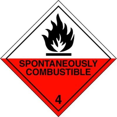 CT4.2L  Spontaneously Combustible 4.2 Placard/Container Label 300mm x 300mm Class 4