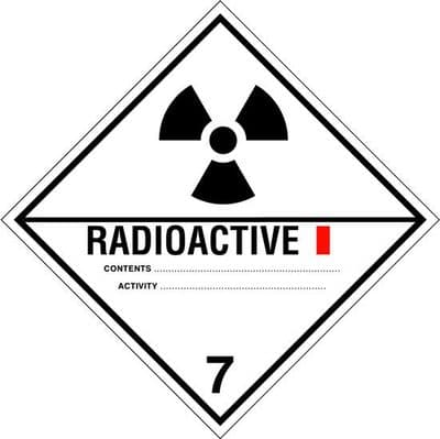 CT7.1L Radioactive 7.1  Placard/Container Label 300mm x 300mm Class 7