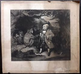 A. M. Huffman after Edwin Landseer 1859 LG Mezzotint. The Travelled Monkey