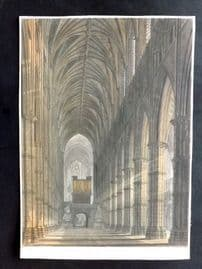Ackermann (Pub) 1812 Hand Col Print. Interior View of Westminster Abbey