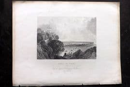 After Allen 1837 Antique Print. Lake of Nemi, Italy