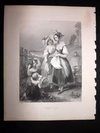 After Brown 1846 Antique Pretty Lady Print. Happy Days