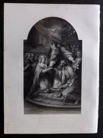 After Carl Vanloo 1846 Folio Antique Print. Marriage of the Virgin