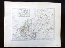 Alison & Johnston 1852 Battle Map of Netherlands, Campaigns of 1792-95