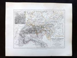Alison & Johnston 1852 Battle Map of North Italy, Switzerland, South Germany etc