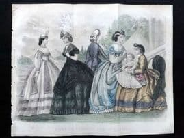 Godey 1865 Hand Col Fashion Print. July