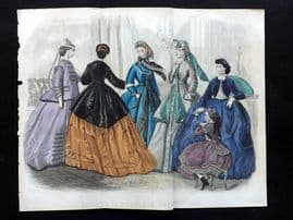 Godey 1865 Hand Col Fashion Print. November