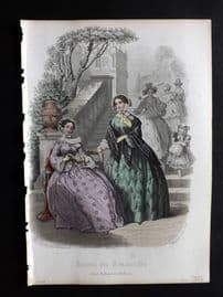 Journal des Demoiselles C1850 Antique Hand Col Fashion Print 02
