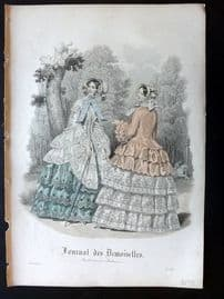 Journal des Demoiselles C1850 Antique Hand Col Fashion Print 100