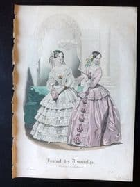 Journal des Demoiselles C1850 Antique Hand Col Fashion Print 104