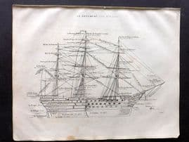 Ragonot C1850 Antique Print. Le Greement, The Rigging. Sail Ship